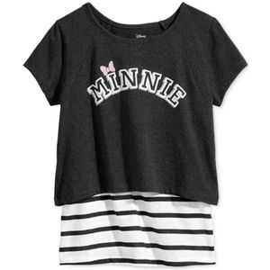 Minnie Mouse Layered-Look T-Shirt, Black/White